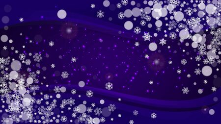 Snow window with ultra violet snowflakes. New Year backdrop. Winter frame for flyer, gift card, party invite, retail offer and ad. Christmas trendy background. Holiday frosty banner with snow window
