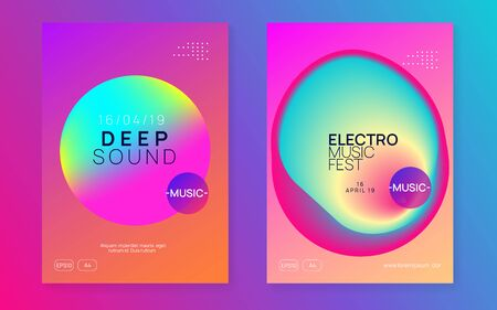 Music poster set. Electronic sound. Night dance lifestyle holiday. Feminine electro concert invitation design. Fluid holographic gradient shape and line. Summer fest flyer and music poster. Foto de archivo - 138472819