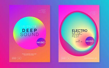 Music poster set. Electronic sound. Night dance lifestyle holiday. Feminine electro concert invitation design. Fluid holographic gradient shape and line. Summer fest flyer and music poster. Reklamní fotografie - 138472819