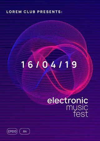 Trance party. Dynamic gradient shape and line. Curvy show brochure template. Neon trance party flyer. Electro dance music. Electronic sound. Club dj poster. Techno fest event. Foto de archivo - 138475216