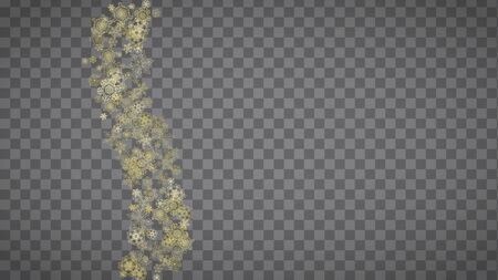 Isolated snowflakes on horizontal transparent grey background. Gold glitter snow. Winter sales, Christmas and New Year design for party invitation, banner, sale. Magic crystal isolated snowflakes.