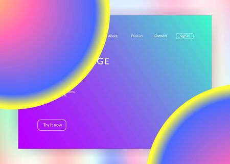Liquid fluid. Holographic 3d backdrop with modern trendy blend. Rainbow ui, app layout. Vivid gradient mesh. Liquid fluid with dynamic elements and shapes. Landing page. Иллюстрация