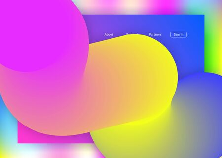 Landing page. Holographic 3d backdrop with modern trendy blend. Vivid gradient mesh. Creative mobile, website frame. Landing page with liquid dynamic elements and fluid shapes. Иллюстрация