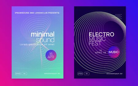 Electronic party. Dynamic fluid shape and line. Trendy show cover set. Neon electronic party flyer. Electro dance music. Techno fest event. Trance sound. Club dj poster.