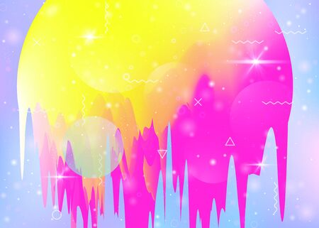 Universe landscape with holographic cosmos and abstract future background. 3d fluid. Futuristic gradient and shape. Fluorescent mountain silhouette with wavy glitch. Memphis universe landscape.