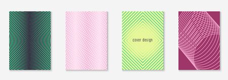 Abstract shapes cover. Yellow and pink. Minimal annual report, patent, page, journal mockup. Abstract shapes cover and template with line geometric elements.