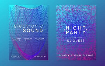 Dance flyer. Dynamic gradient shape and line. Cool show brochure set. Neon dance flyer. Electro trance music. Techno dj party. Electronic sound event. Club fest poster. Иллюстрация
