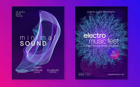 Club flyer. Dynamic fluid shape and line. Curvy discotheque cover set. Neon club flyer. Electro dance music. Trance party dj. Electronic sound fest. Techno event poster.