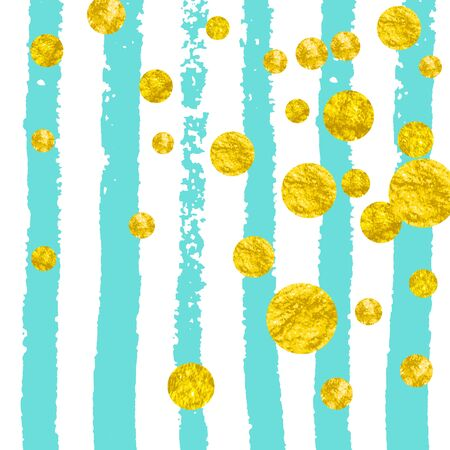 Gold glitter confetti with dots on turquoise stripes. Shiny random falling sequins with sparkles. Template with gold glitter confetti for party invitation, banner, greeting card, bridal shower.