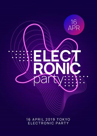 Electronic party. Energy show invitation layout. Dynamic gradient shape and line. Neon electronic party flyer. Electro dance music. Techno fest event. Trance sound. Club dj poster.
