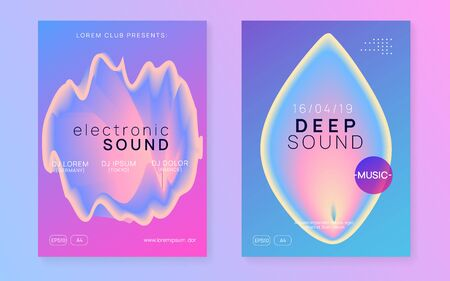 Music poster set. Electronic sound. Night dance lifestyle holiday. Creative techno event presentation template. Fluid holographic gradient shape and line. Summer fest flyer and music poster.