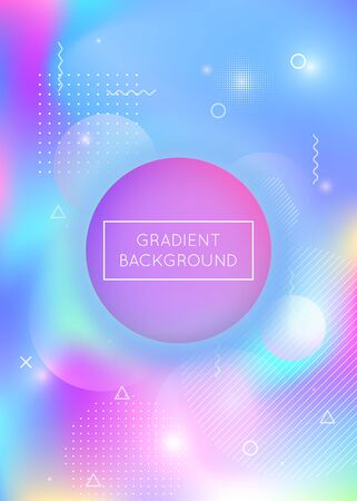 Liquid shapes background with dynamic fluid. Holographic bauhaus gradient with memphis elements. Graphic template for book, annual, mobile interface, web app. Neon liquid shapes background.