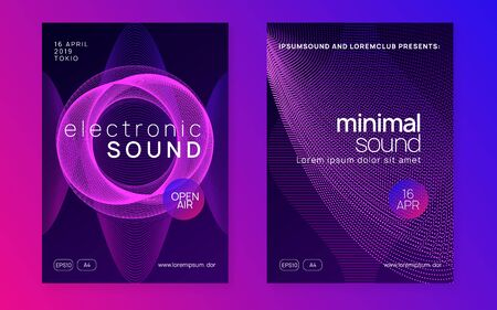 Electronic fest. Dynamic fluid shape and line. Energy discotheque brochure set. Neon electronic fest flyer. Electro dance music. Trance sound. Club event poster. Techno dj party.