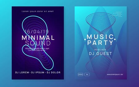 Music poster. Dynamic fluid shape and line. Wavy concert invitation set. Neon music poster. Electro dance dj. Electronic sound fest. Club event flyer. Techno trance party. Иллюстрация