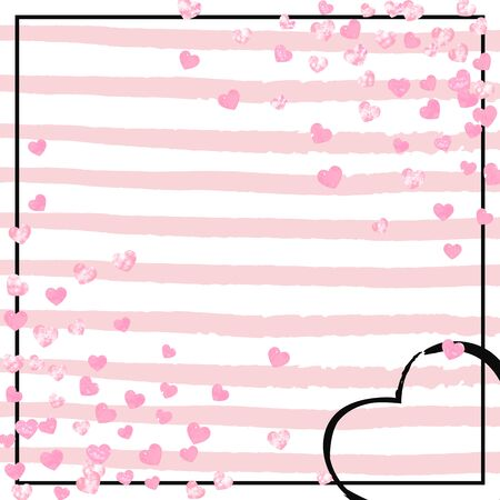 Pink glitter confetti with hearts on pink stripes. Falling sequins with shimmer and sparkles. Design with pink glitter confetti for party invitation, banner, greeting card, bridal shower. Ilustração