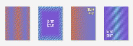 Line geometric elements. Linear book, patent, presentation, banner layout. Orange and purple. Line geometric elements on minimalist trendy cover template. Иллюстрация
