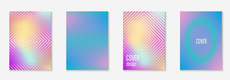 Music cover. Holographic. Minimalistic web app, certificate, invitation, annual report layout. Music cover with minimalist geometric line and trendy shapes.
