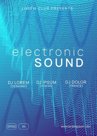 Sound flyer. Dynamic gradient shape and line. Commercial show invitation layout. Neon sound flyer. Electro dance music. Electronic fest event. Club dj poster. Techno trance party.