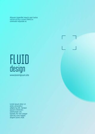 Cover fluid with round shapes. Gradient circles on holographic background. Modern hipster template for placards, banners, flyers, report, brochure. Minimal cover fluid in vibrant neon colors. Иллюстрация