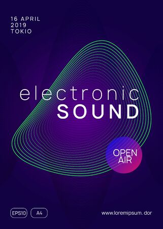 Dj event. Wavy show banner design. Dynamic gradient shape and line. Dj event neon flyer. Techno trance party. Electro dance music. Electronic sound. Club fest poster.