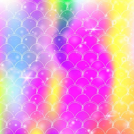 Rainbow scales background with kawaii mermaid princess pattern. Fish tail banner with magic sparkles and stars. Sea fantasy invitation for girlie party. Multicolor backdrop with rainbow scales. Vettoriali