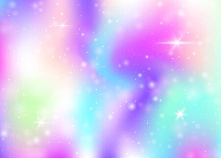 Unicorn background with rainbow mesh. Colorful universe banner in princess colors. Fantasy gradient backdrop with hologram. Holographic unicorn background with magic sparkles, stars and blurs. Vector Illustratie
