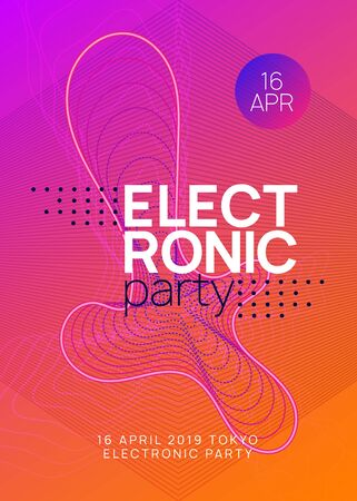 Trance event. Wavy concert magazine concept. Dynamic gradient shape and line. Neon trance event flyer. Techno dj party. Electro dance music. Electronic sound. Club fest poster.  イラスト・ベクター素材