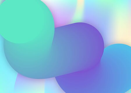 Fluid shape. Holographic 3d backdrop with modern trendy blend. Vivid gradient mesh. Colorful report, banner frame. Fluid shape background with liquid dynamic elements.