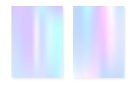 Holographic cover set with hologram gradient background. 90s, 80s retro style. Pearlescent graphic template for brochure, banner, wallpaper, mobile screen. Multicolor minimal holographic cover. 向量圖像