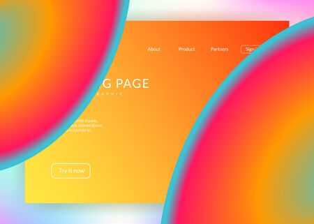 Landing page. Holographic 3d backdrop with modern trendy blend. Vivid gradient mesh. Soft mobile, screen layout. Landing page with liquid dynamic elements and fluid shapes.