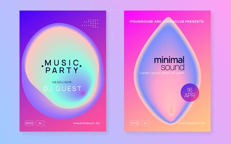 Music poster set. Wavy electro concert presentation template. Fluid holographic gradient shape and line. Electronic sound. Night dance lifestyle holiday. Summer fest flyer and music poster. Stock Illustratie