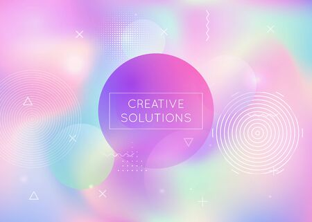 Memphis gradient background with liquid shapes. Dynamic holographic fluid with bauhaus elements. Graphic template for flyer, ui, magazine, poster, banner and app. Colorful memphis gradient.  イラスト・ベクター素材