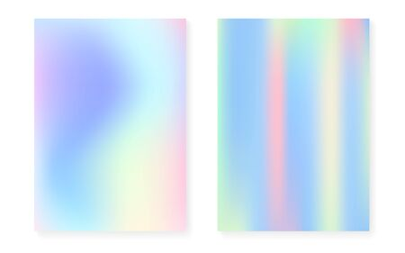 Holographic cover set with hologram gradient background. 90s, 80s retro style. Pearlescent graphic template for brochure, banner, wallpaper, mobile screen. Rainbow minimal holographic cover. 版權商用圖片 - 143298854