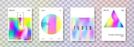 Holographic poster set. Abstract backgrounds. Hipster holographic poster with gradient mesh. 90s, 80s retro style. Iridescent graphic template for placard, presentation, banner, brochure.