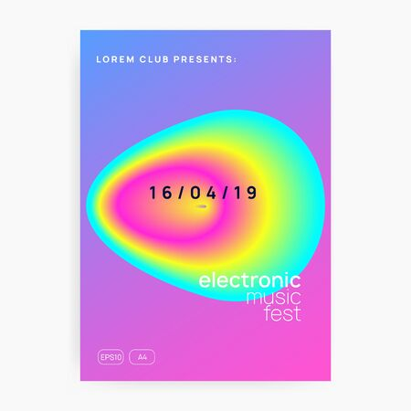 Summer music. Creative indie show presentation template. Electronic sound. Night dance lifestyle holiday. Fluid holographic gradient shape and line. Fest poster and flyer for summer music.  イラスト・ベクター素材