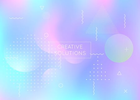 Holographic background with liquid shapes. Dynamic bauhaus gradient with memphis fluid elements. Graphic template for flyer, ui, magazine, poster, banner and app. Iridescent holographic background.