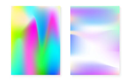 Hologram gradient background set with holographic cover. 90s, 80s retro style. Iridescent graphic template for brochure, banner, wallpaper, mobile screen. Colorful minimal hologram gradient.