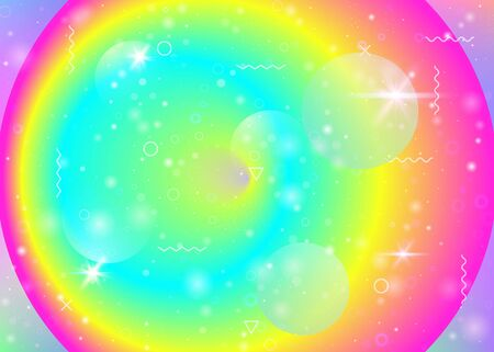 Vibrant gradients on rainbow background. Holographic dynamic fluid. Cosmos hologram. Graphic template for poster, placard and banner. Vintage vibrant gradients.