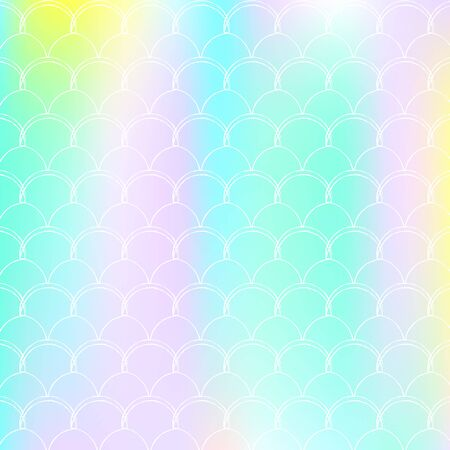 Holographic scale background with gradient mermaid. Bright color transitions. Fish tail banner and invitation. Underwater and sea pattern for girlie party. Pearlescent backdrop with holographic scale.