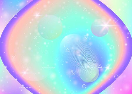 Holographic background with vibrant rainbow gradients. Dynamic fluid. Cosmos hologram. Design template for poster, flyer and cover. 向量圖像