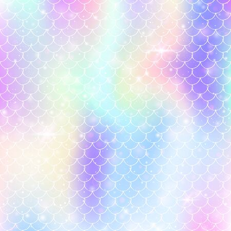 mermaid background with princess rainbow scales pattern. Fish tail banner with magic sparkles and stars. Sea fantasy invitation for girl party. Trendy mermaid backdrop. 向量圖像