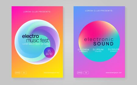 Summer music set. Fluid holographic gradient shape and line. Abstract indie concert presentation template. Electronic sound. Night dance lifestyle holiday. Fest poster and flyer for summer music.