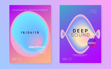 Music poster set. Fluid holographic gradient shape and line. Electronic sound. Night dance lifestyle holiday. Abstract electro event banner layout. Summer fest flyer and music poster.