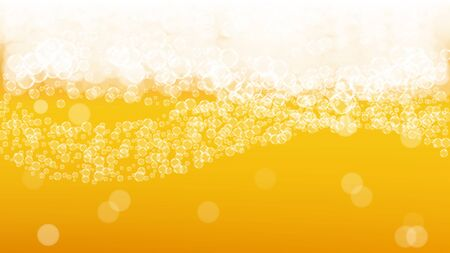 Lager beer. Background with craft splash. Oktoberfest foam. restaurant menu layout. Hipster pint of ale with realistic white bubbles. Cool liquid drink for Gold jug with lager beer. 向量圖像