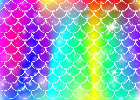 mermaid background with princess rainbow scales pattern. Fish tail banner with magic sparkles and stars. Sea fantasy invitation for girl party. Vibrant mermaid backdrop.