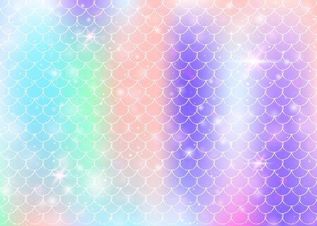 mermaid background with princess rainbow scales pattern. Fish tail banner with magic sparkles and stars. Sea fantasy invitation for girl party. Plastic mermaid backdrop.