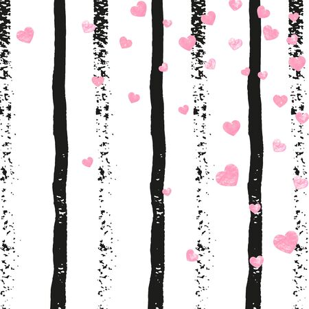 Pink glitter confetti with hearts on black stripes. Random falling sequins with metallic shimmer. Template with pink glitter confetti for party invitation, banner, greeting card, bridal shower.