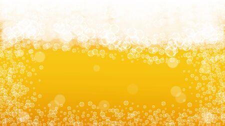 Craft beer background. Lager splash. Oktoberfest foam. restaurant flyer design. Bavarian pint of ale with realistic white bubbles. Cool liquid drink for Golden mug with craft beer background. 向量圖像