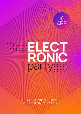 Dj party. Dynamic gradient shape and line. Modern show cover design. Neon dj party flyer. Electro dance music. Techno trance. Electronic sound event. Club fest poster.