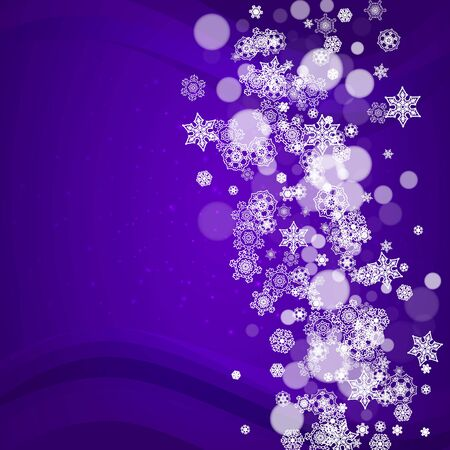 Xmas sales with ultra violet snowflakes. New Year frosty backdrop. Winter frame for gift coupons, vouchers, ads, party events. Christmas trendy background. Holiday banner for xmas sales.